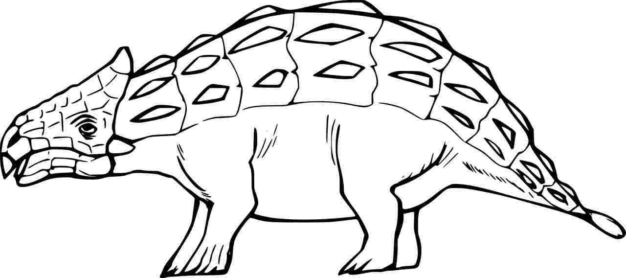 Walking Ankylosaurus Dinosaur Coloring Page