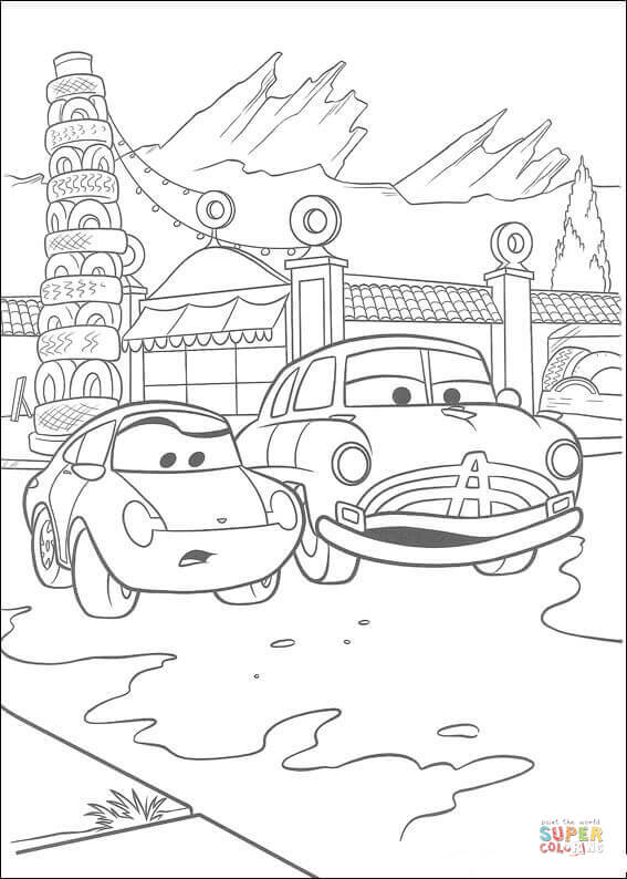 Sally And Doc Hudson From Disney Cars Coloring Page