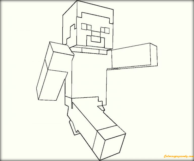 walking in minecraft coloring page