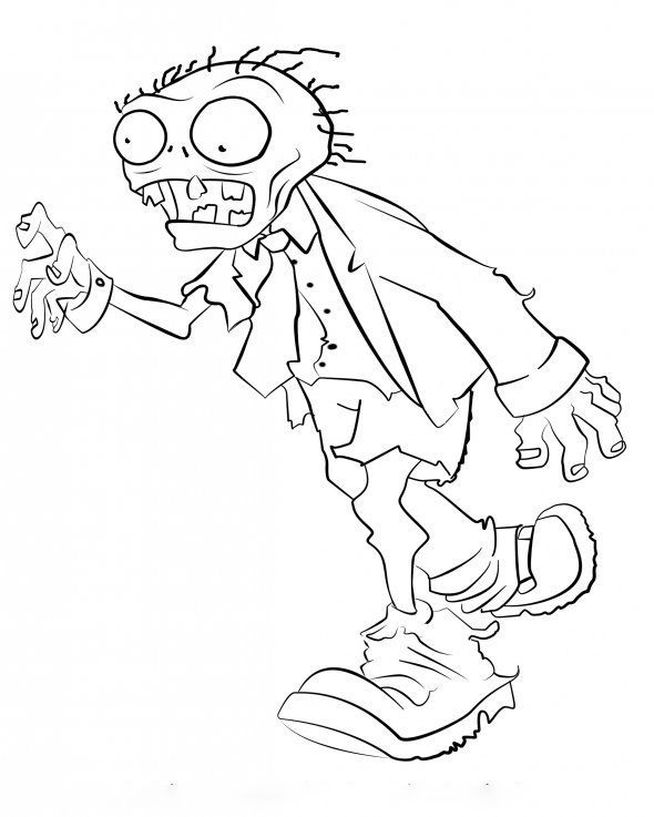 Walking zombie Coloring Page