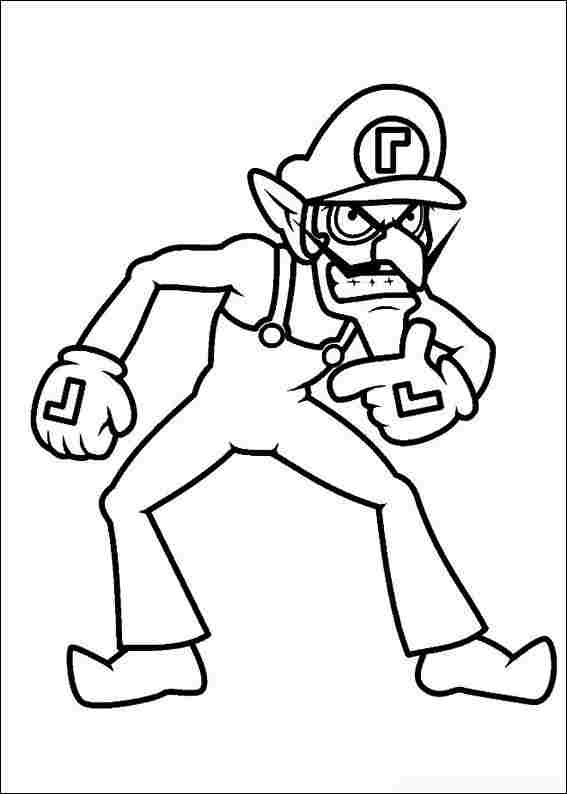 Waluigi is a lanky rival of Luigi and partner of Wario from Super Mario Bros Coloring Page