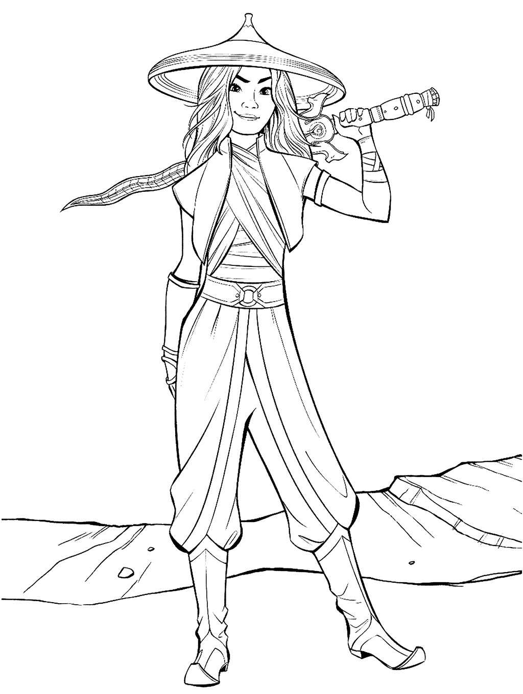 Warrior Raya holds her sword Coloring Page