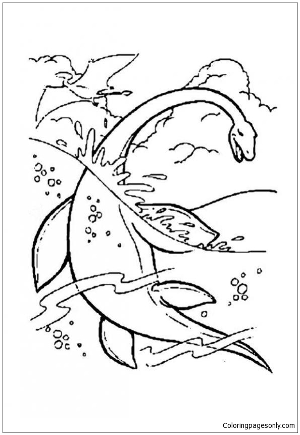Water Dinosaur Coloring Page