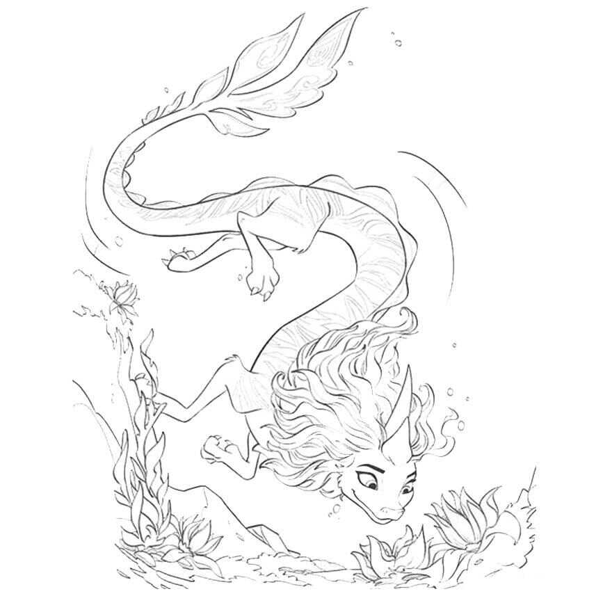 Water Dragon Sisu dives down to the ocean Coloring Page