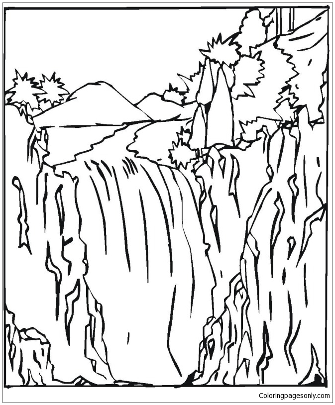 Waterfall 2 coloring page free coloring pages online for Free printable waterfall coloring pages