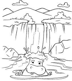 Waterfall 4 Coloring Page