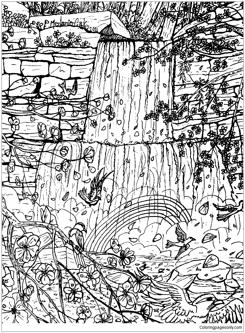 Waterfall Beautiful Coloring Page Free Coloring Pages Online