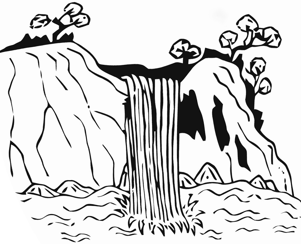 Waterfall in art Coloring Page