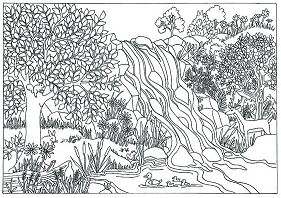 Waterfall Nature Scene Coloring Page