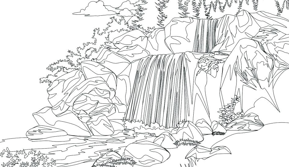 Waterfall Printable Coloring Page