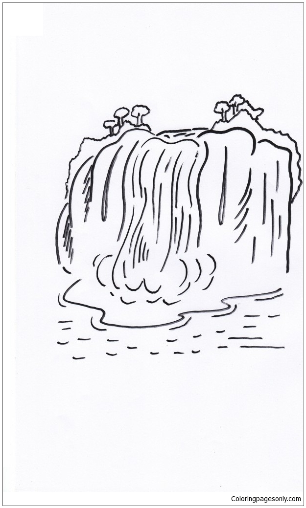 Waterfalls Heavy Flood Coloring Page