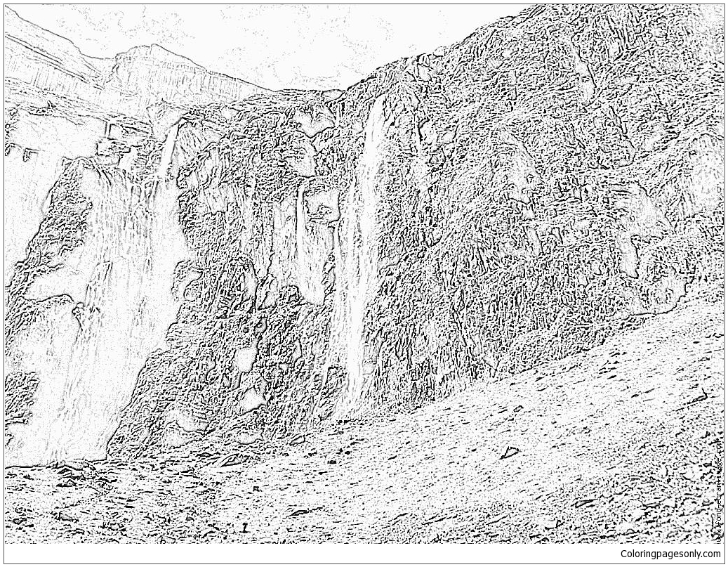 Waterfalls Montagne Coloring Page