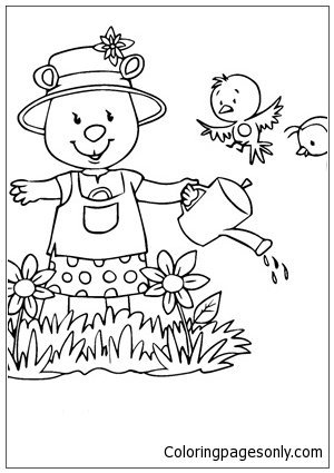 Watering Flowers Spring Coloring Page