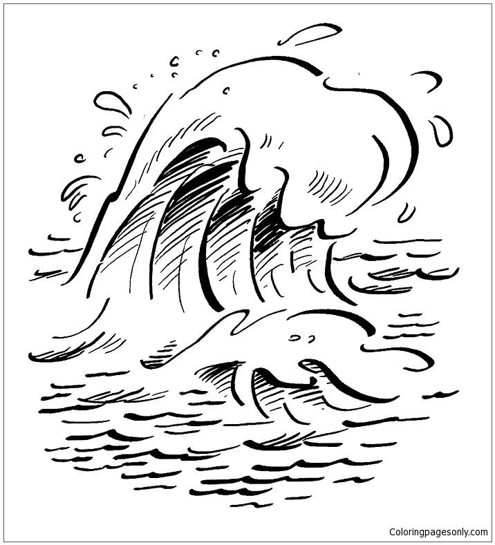 Waves On The Ocean Coloring Page