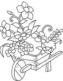 Wheelbarrow with Flowers Coloring Page