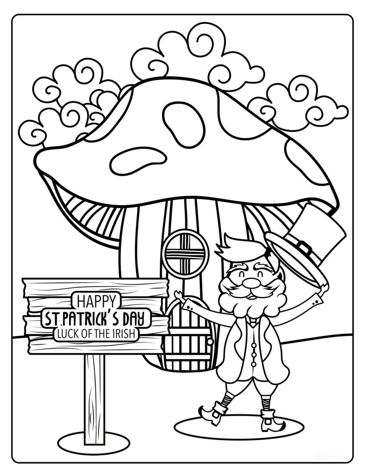 Whimsical St.Patrick day Coloring Page