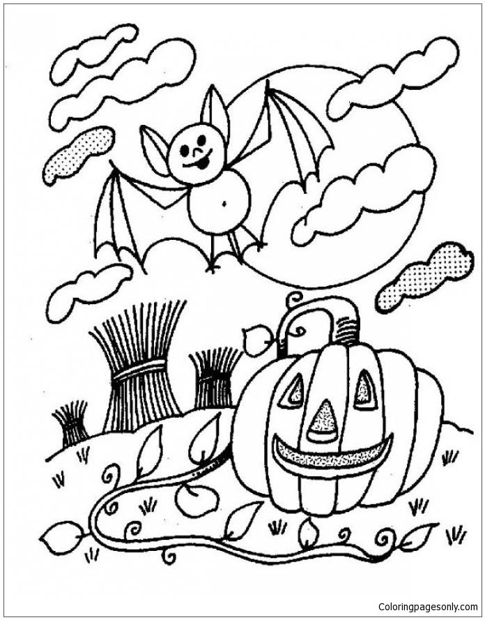 Wild Pumpkin And Bat Coloring Page