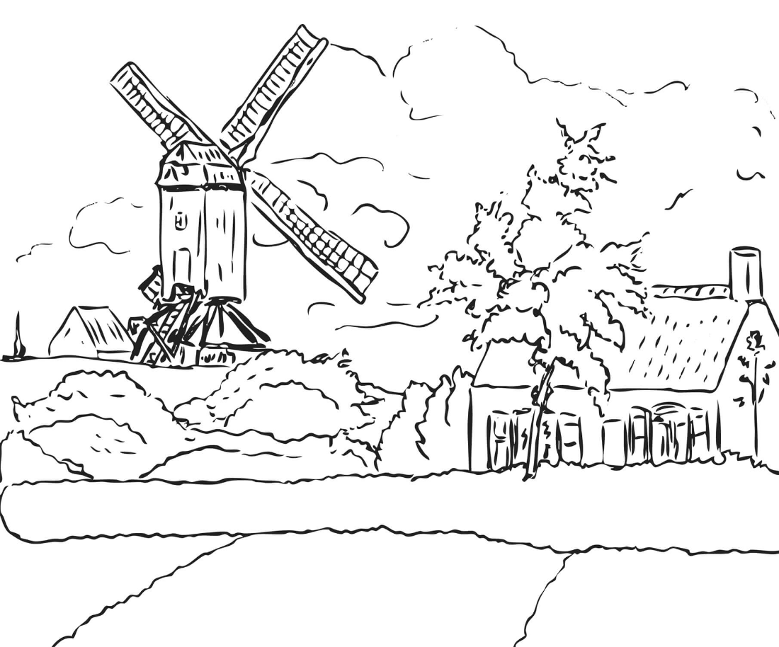 Windmill at Knock Belgium By Camille Pissarro Coloring Page