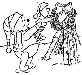 Winnie The Pooh Celebrating Of Christmas Day With Piglet
