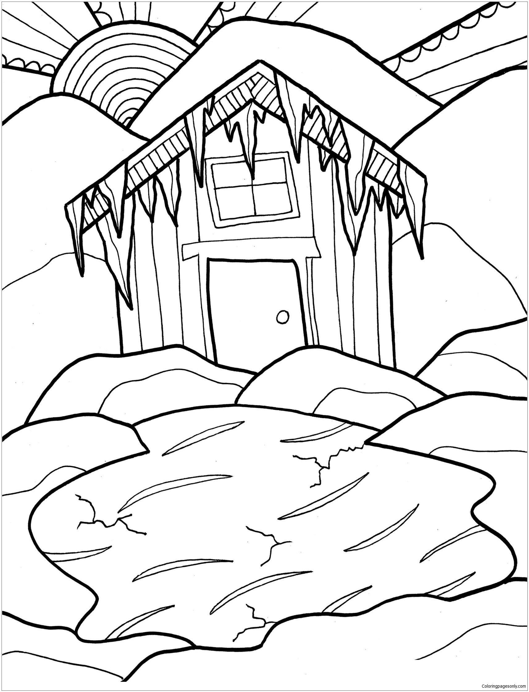 Winter Cabin Coloring Page