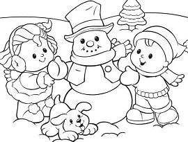 Winter fun with kids, snowman and cute puppy Coloring Page