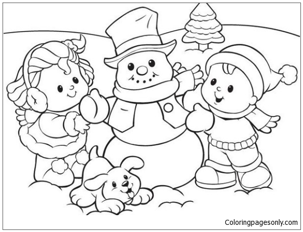 Winter Fun With Kids Snowman And Cute Puppy Coloring Page Free