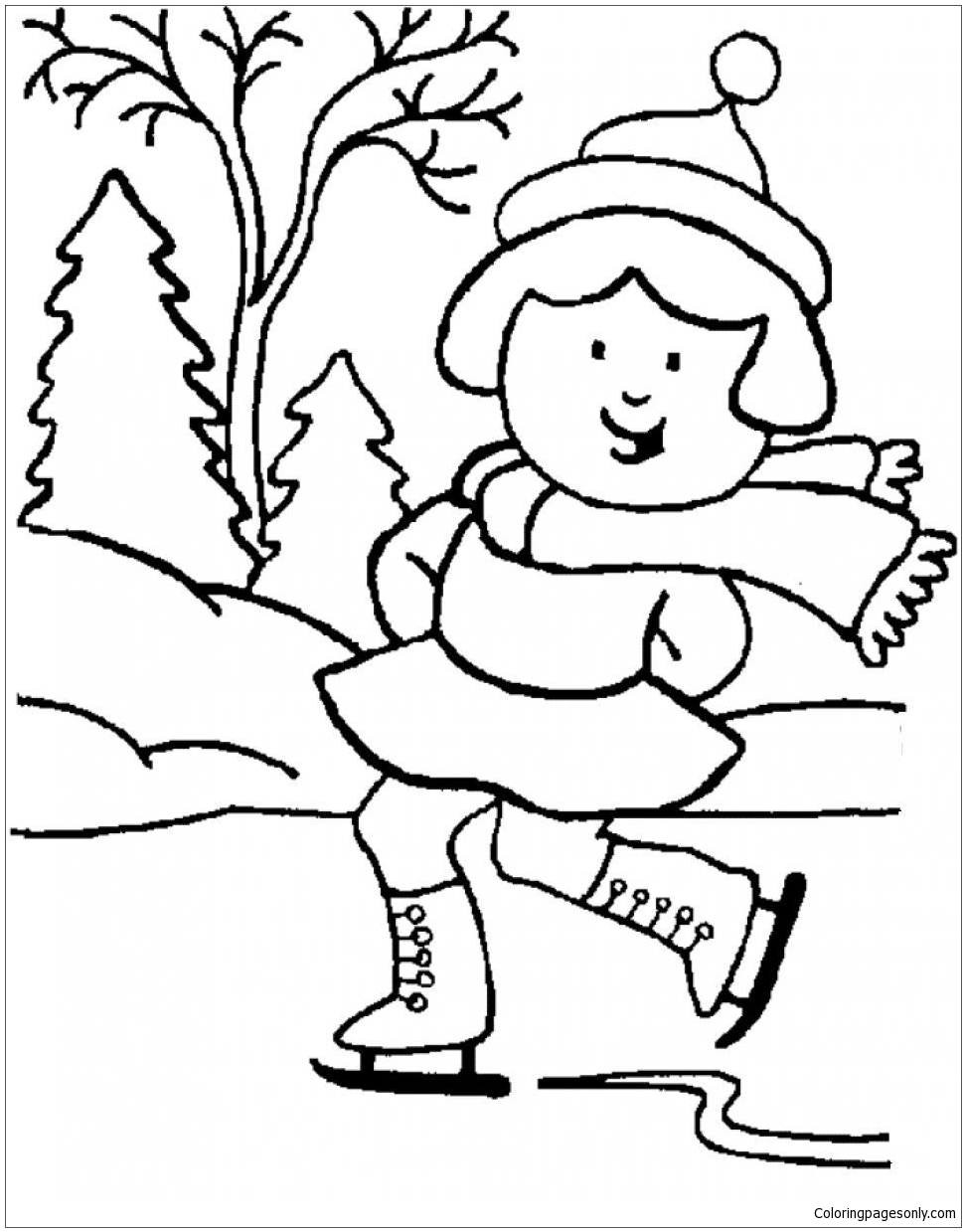 Winter Girl Coloring Page
