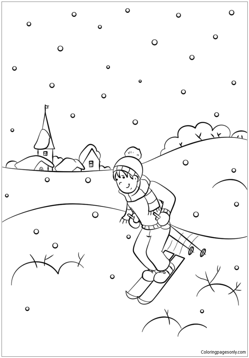 Winter Scene Coloring Pages - Nature & Seasons Coloring ...
