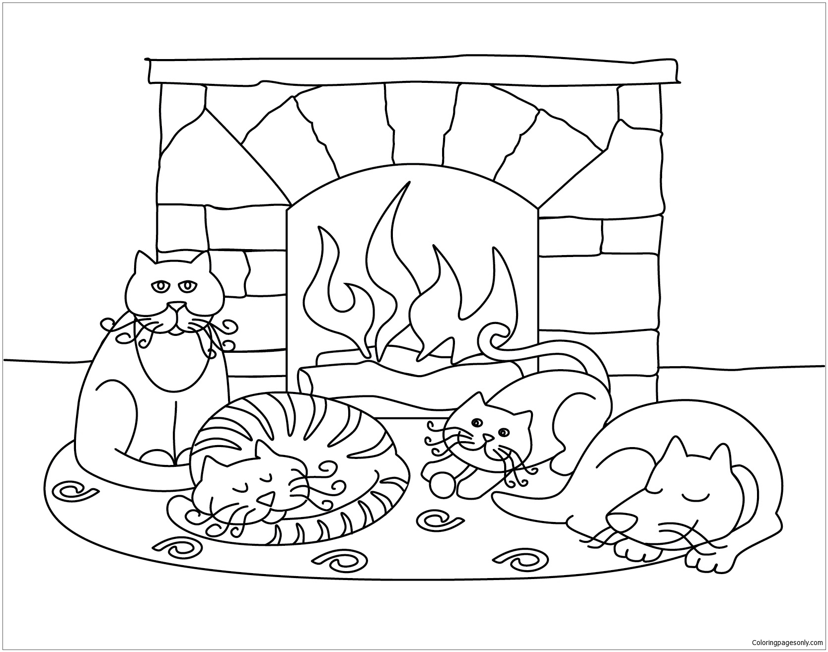 Winter Scenes With Cute Animals Coloring Page - Free Coloring Pages ...