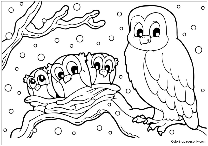 Winter Snowy Owl Coloring Page Free Coloring Pages Online