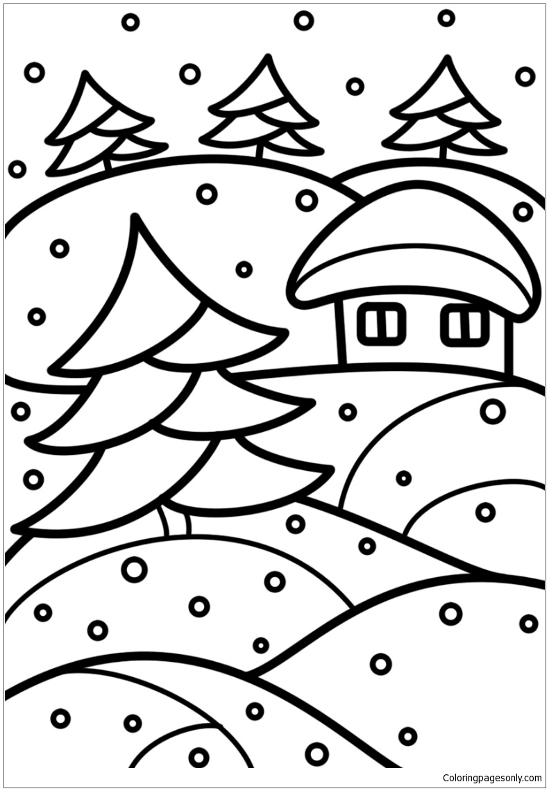 Winter Stained Glass Coloring Page Free Coloring Pages