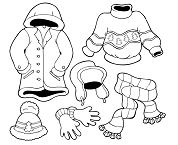 Winter Wears for Season Coloring Page