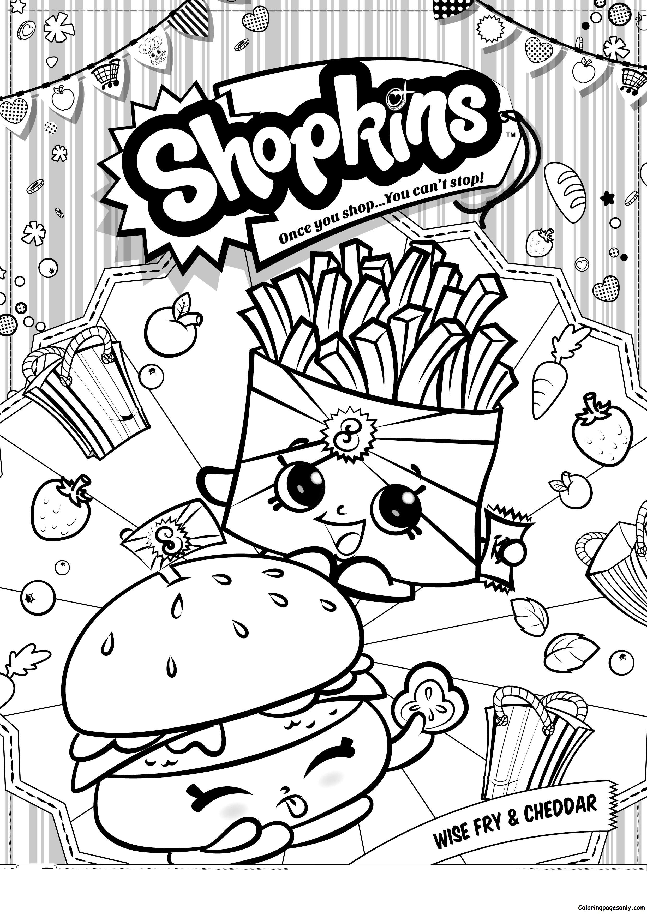 Wise Fry And Cheddar Shopkins Coloring Page - Free Coloring Pages Online