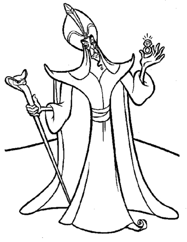 Jafar from Aladdin Coloring Page