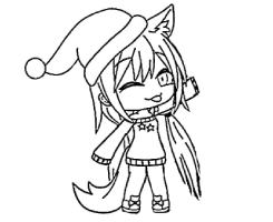 Wolf Girl with a noel hat Coloring Page