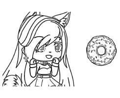 Wolf Girl with Donut Cake Coloring Page