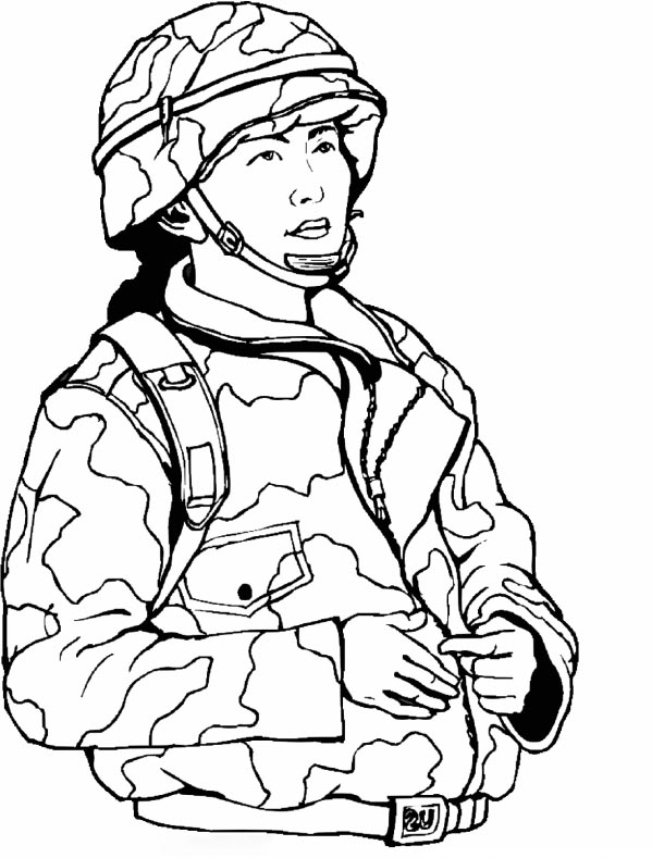 Woman in Army Coloring Page