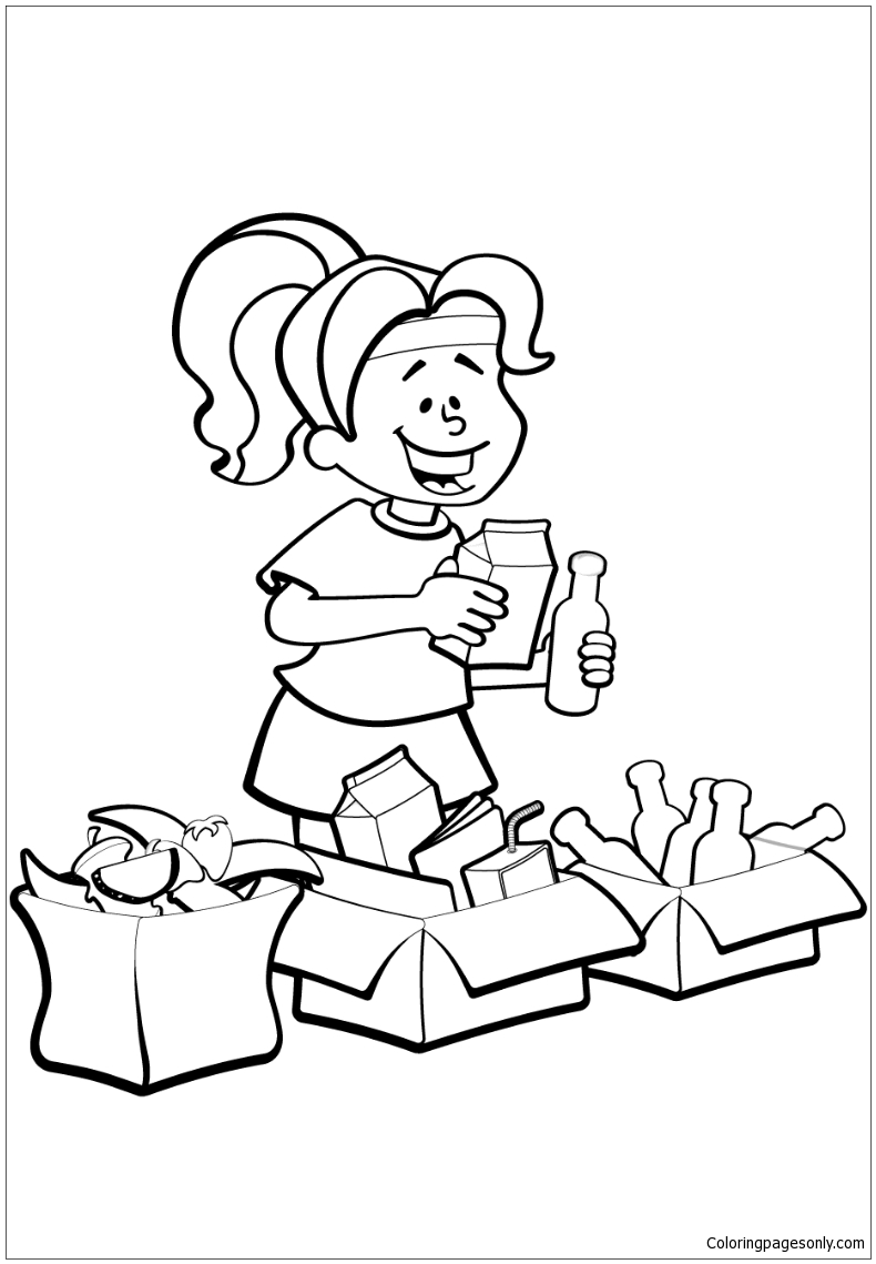 coloring pages garbage | Woman is Sorting Garbage for Recycling Coloring Page ...