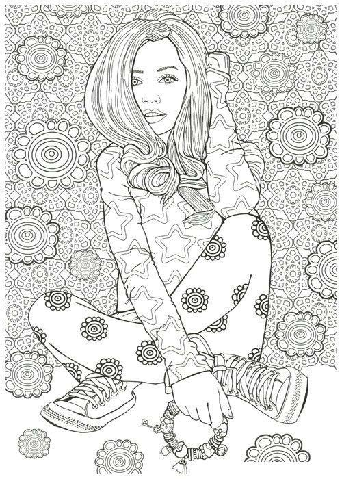 Woman Model Illustration Coloring Page