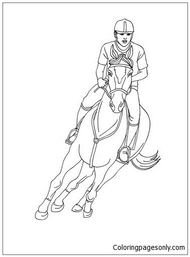 Woman On A Galloping Horse Coloring Page - Free Coloring ...