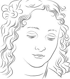 Woman s Head by Leonardo da Vinci Coloring Page