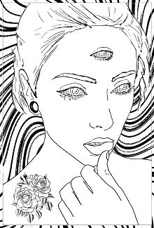 Woman With 3 Eyes Coloring Page
