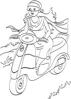 Women Riding A Scooter