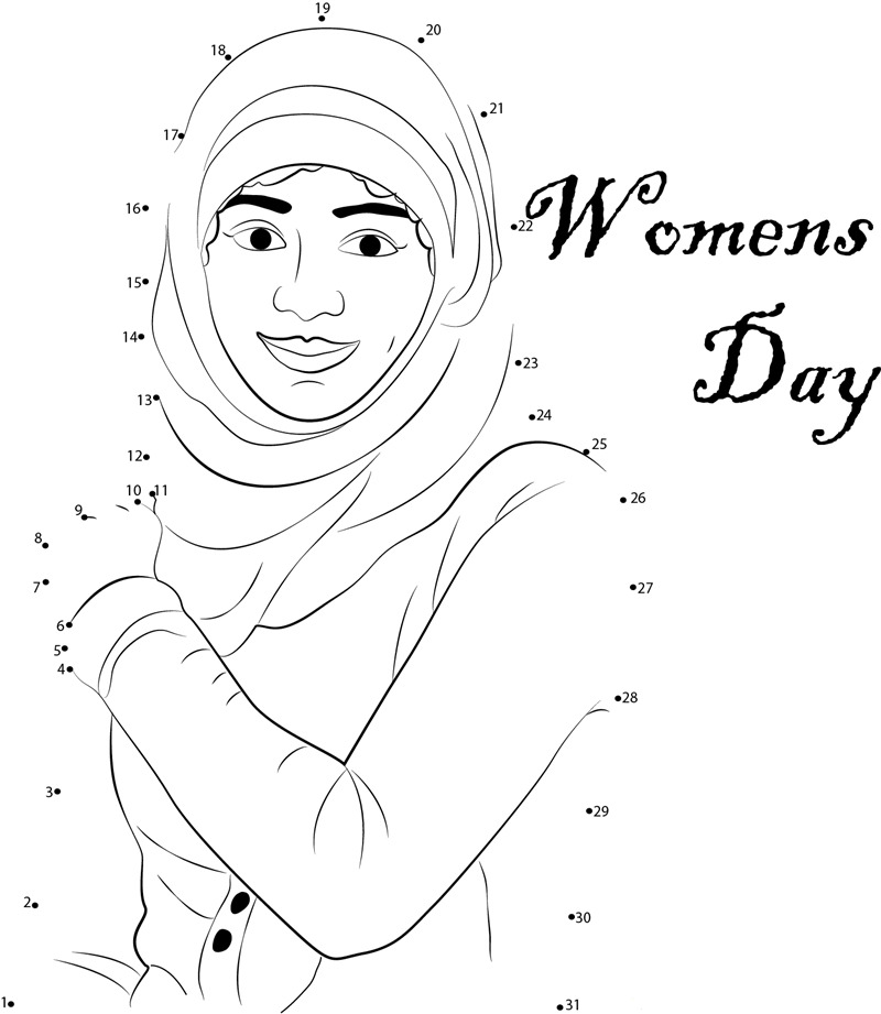 Womens Day Connect the Dots Coloring Page