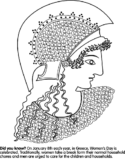 Womens Day in Greece Coloring Page