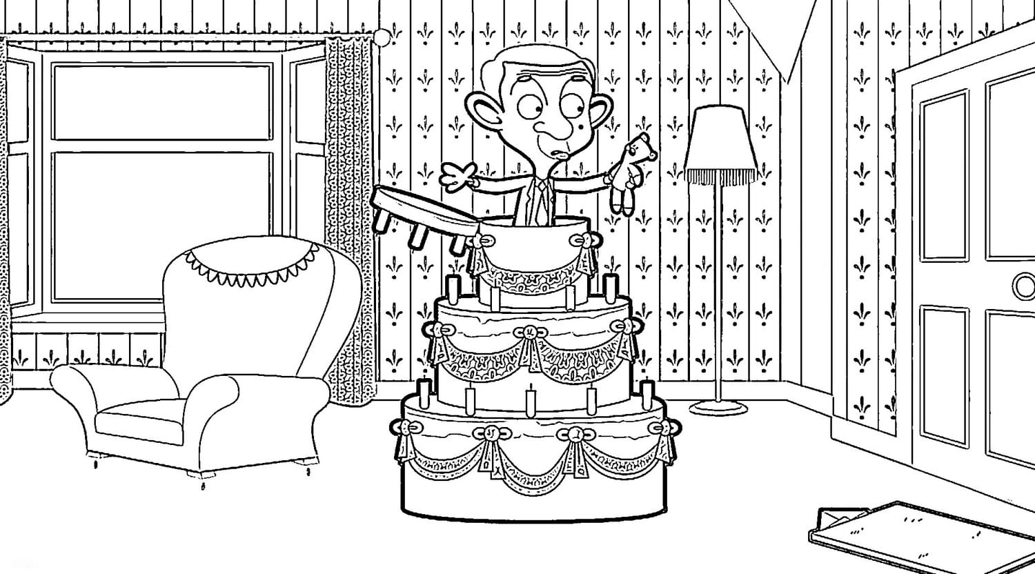 Wonder day Mr Bean Coloring Page