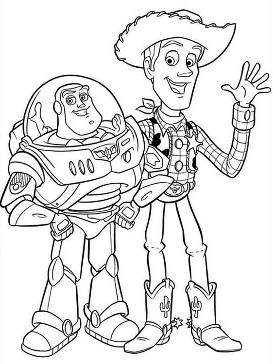 Woody and Buzz Coloring Page