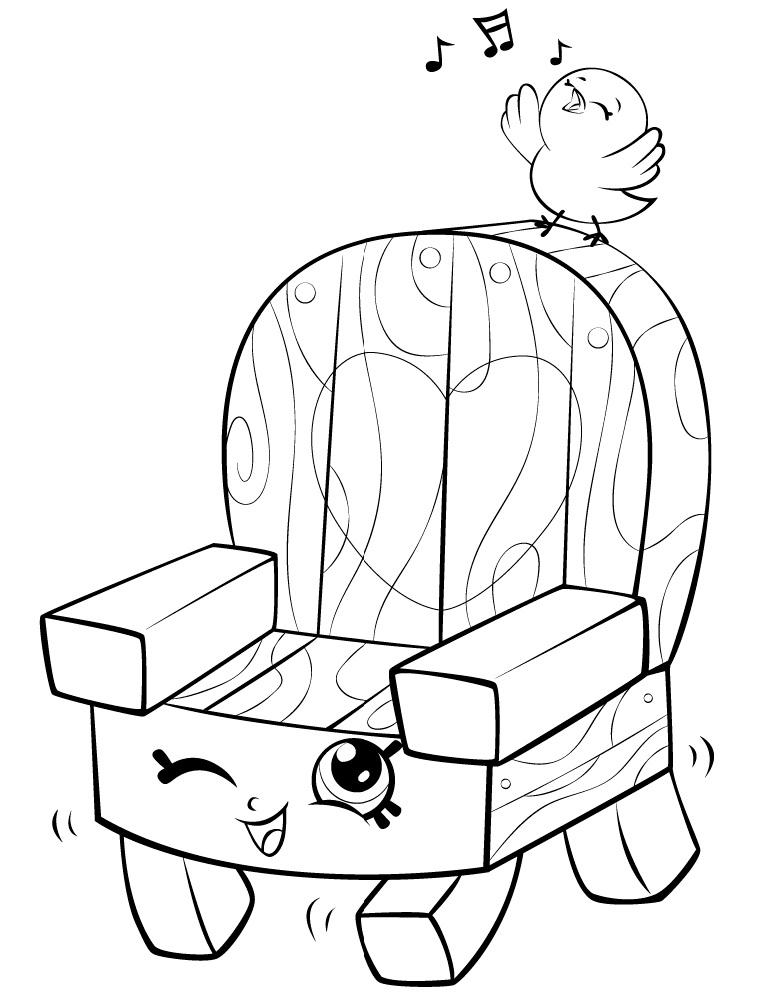 Woody Garden Chair Shopkin Season 5 Coloring Page