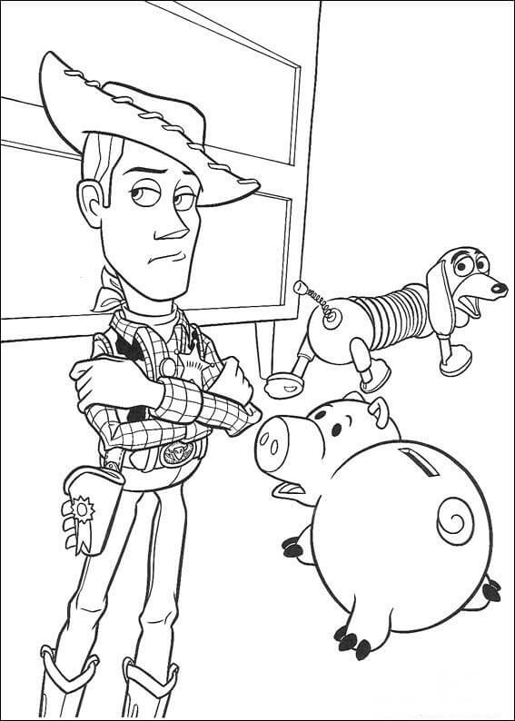 Woody Sheriff, Hamm and Slinky Dog Coloring Page