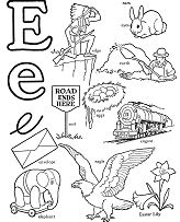 Words That Start with Letter E Coloring Page